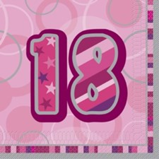 Pink Glitz 18th Napkins - Pack of 16