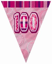 Birthday Pink Glitz Age One Hundred Bunting – 12 Ft / 3.65m