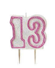 Pink Glitz Theme Number Candle – Number 13