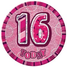 Birthday Pink Glitz Age 16th Happy Birthday Large Badge