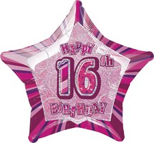 Birthday Pink Glitz 16th Birthday Prismatic Star Shape Foil Balloon