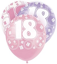 Pink Glitz 18th Birthday Latex Balloons  – Pack of 6 – Assorted Colours