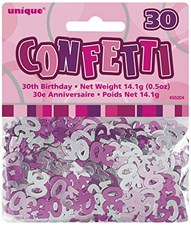 Birthday Pink Glitz 30th Table Confetti
