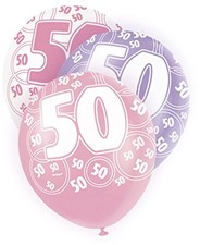 Pink Glitz 50th Birthday Latex Balloons  – Pack of 6 – Assorted Colours