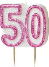 Pink Glitz Theme Number Candle – Number 50
