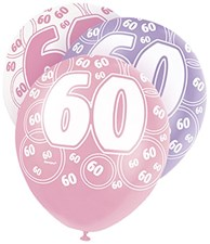 Pink Glitz 60th Birthday Latex Balloons  – Pack of 6 – Assorted Colours
