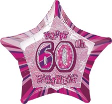 Birthday Pink Glitz 60th Birthday Star Shape Foil Balloon