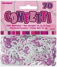 Birthday Pink Glitz 70th Table Confetti