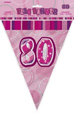 Birthday Pink Glitz 80th Bunting – 12 Ft / 3.65m
