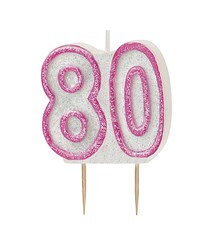 Pink Glitz Theme Number Candle – Number 80