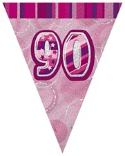 Birthday Pink Glitz 90th Bunting – 12 Ft / 3.65m