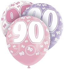 Pink Glitz 90th Birthday Latex Balloons  – Pack of 6 – Assorted Colours