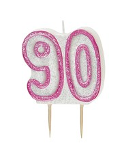 Pink Glitz Theme Number Candle – Number 90