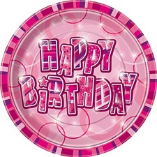 Pink Glitz Happy Birthday Paper Plates - Circle Pattern Pack of 8