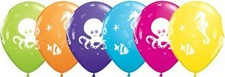 Qualatex Party Sea Creatures Latex Balloons - Pack of 5 - Assorted Colours