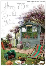 Birthday Age 75th Jonny Javelin Card - Garden Shed