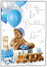 Birthday 1 Today Jonny Javelin Card - Baby Boy Card