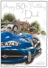 Jonny Javelin Birthday Dad 80th Card - Blue Car & Pub