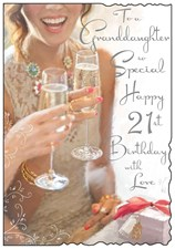 Birthday Age 21st Granddaughter Jonny Javelin Card - Champagne & Presents