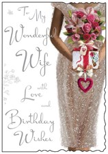 Jonny Javelin Birthday Wife Card - Ivory Dress