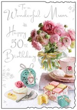 Jonny Javelin Birthday Mum 50th Card - Roses