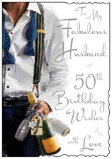 Jonny Javelin Birthday Husband 50th Card - Champagne