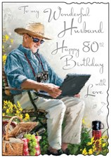 Jonny Javelin Birthday Husband 80th Card - Park Bench