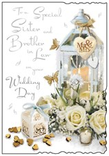 Wedding Day Sister & Brother in Law Jonny Javelin Card - Roses