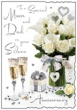 Jonny Javelin Anniversary Mum & Dad 25th Card - Roses & Champagne