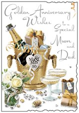 Jonny Javelin Anniversary Mum & Dad 50th Card - Golden Champagne