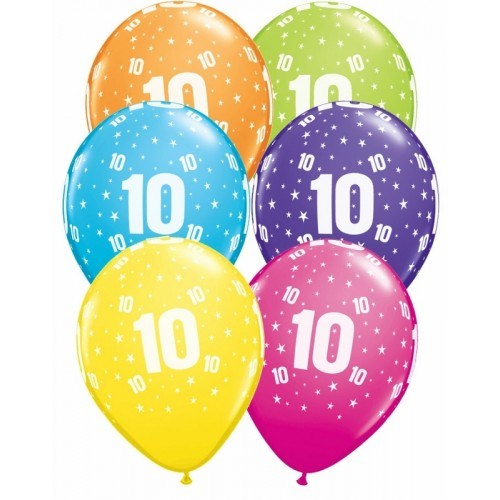 Qualatex Age 10 Happy Birthday Latex Balloons - Pack of 6 - Assorted Colours