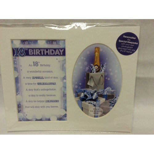 Photo Mount 18th Birthday 10 x 8 - Blue