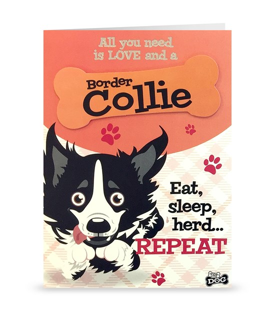 Top Dog Border Collie Greeting Card