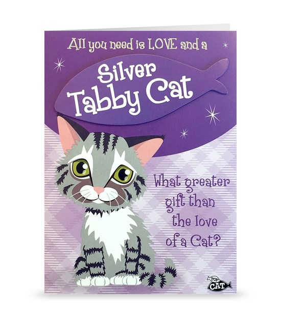 Top Cat Silver Tabby Cat Greeting Card