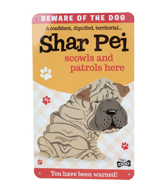 Top Dog Beware Of The Dog - Cute Shar Pei Plaque