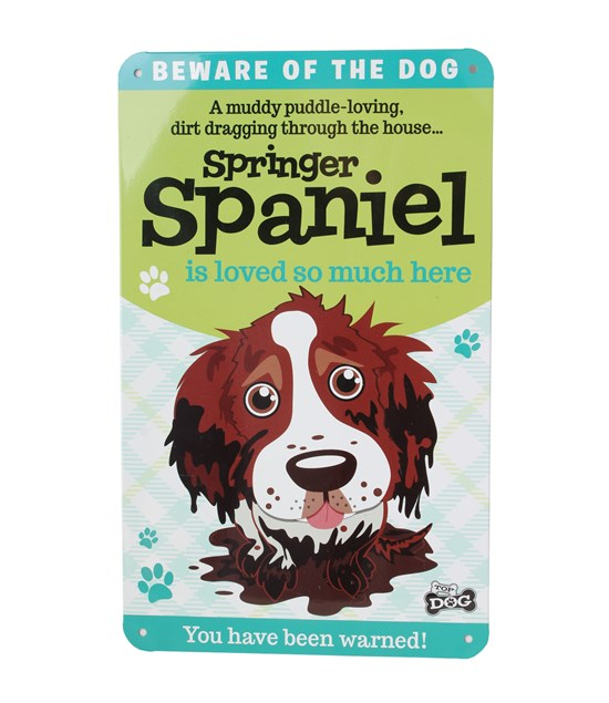 Top Dog Beware Of The Dog - Cute Springer Spaniel Plaque