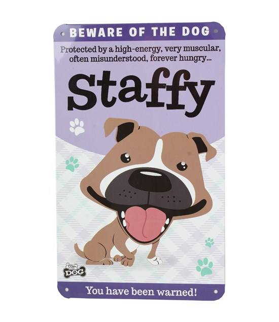 Top Dog Beware Of The Dog - Cute Staffy Plaque