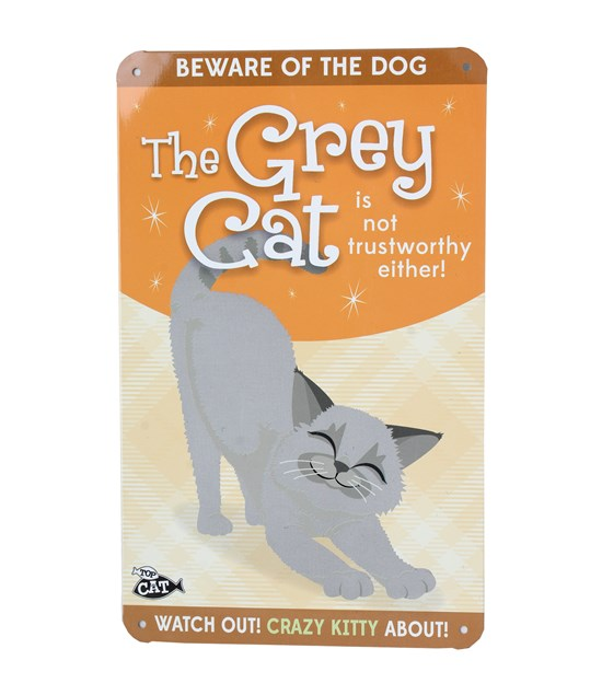 Top Cat Beware Of The Cat - Cute Grey Cat Plaque 2