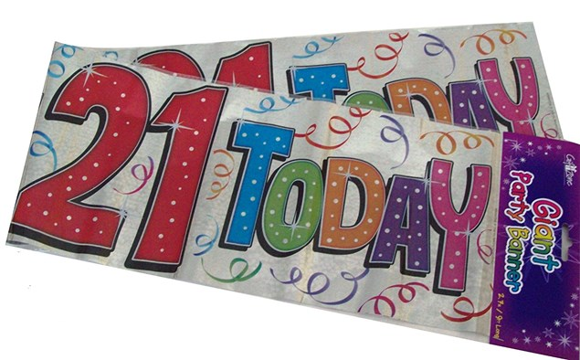 Party Banner Birthday '21st Today' Banner - Silver Holographic