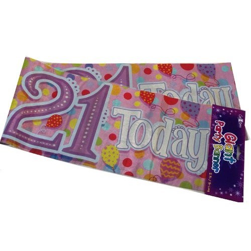 Party Banner Birthday '21st Today' Banner - Pink Holographic