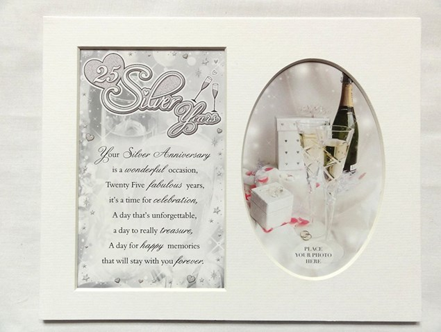 Photo Mount 25th Silver Wedding Anniversary 10 x 8