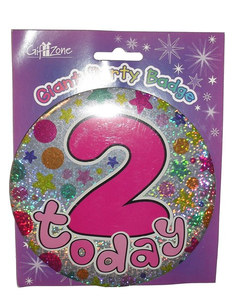 Party All Ages Badge 2 Birthday '2 Today' Pink Large Badge - Flowers