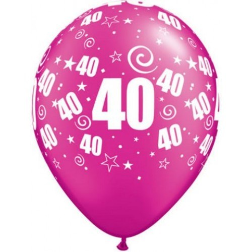 Pink Magenta 40th Qualatex Latex Balloons - Pack of 25
