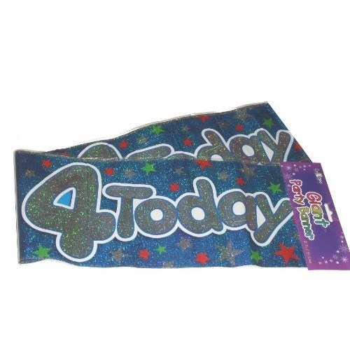 Party Banner 4th Birthday Banner - Multicoloured Blue