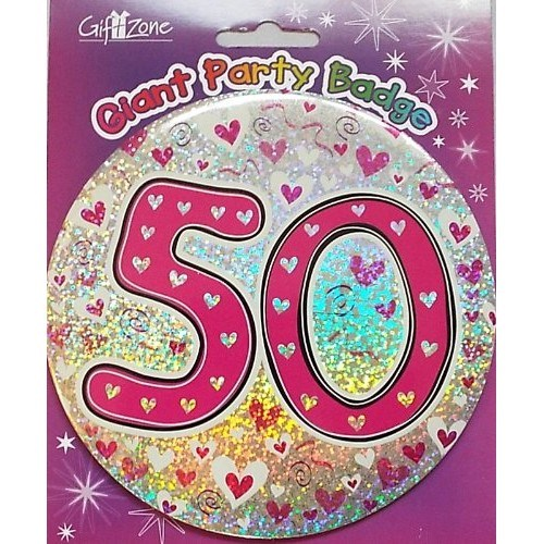 Party Badge 50 Birthday '50 Today' Large Badge - Pink Hearts