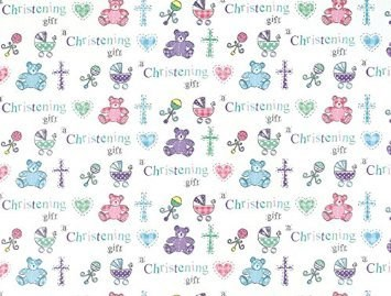 Gift Wrap Christening Deluxe 2 Sheets & 1 Gift Tag - Cute Bears & Prams