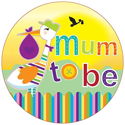 Party Badge Baby Shower Mum To Be Stork Large Badge
