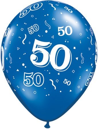 Blue Sapphire Age 50 Latex Balloons - Pack of 25