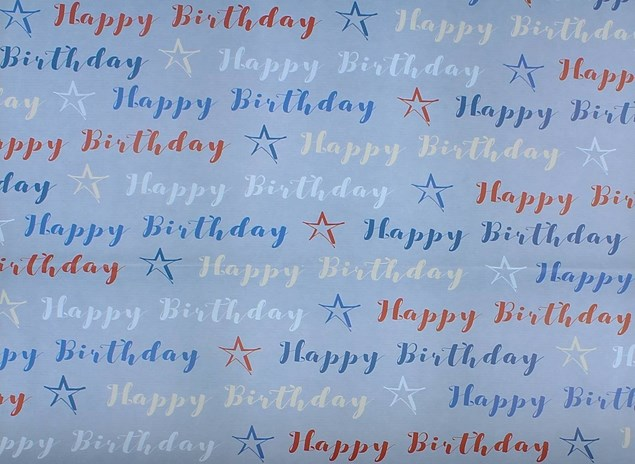 Gift Wrap Birthday Male Blue, White & Red Deluxe Paper - 2 Sheets & 1 Tag