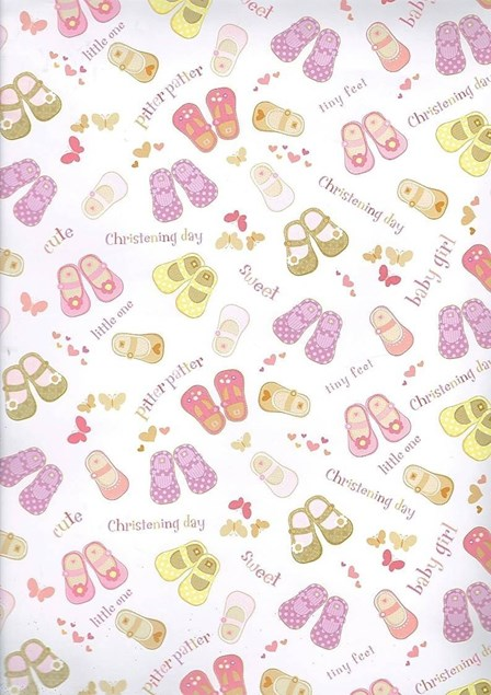 Gift Wrap Christening Baby Girl Deluxe 2 Sheets & Gift Tag - Little Shoes